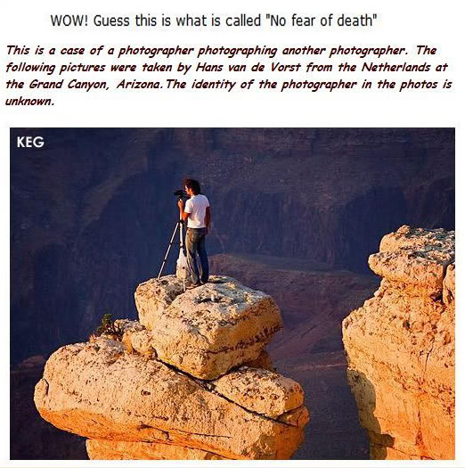 No FEAR OF DEATH - photographer on cliff edge